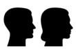 Set: Frauenkopf, Männerkopf im Profil – Vektor und freigestellt