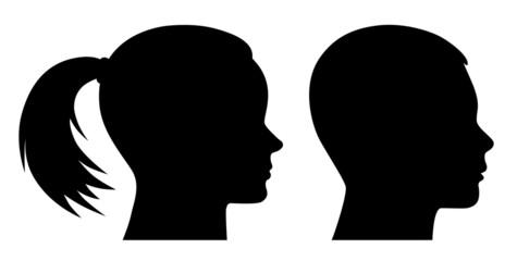 Set: Mädchenkopf, Jungenkopf im Profil – Vektor und freigestellt
