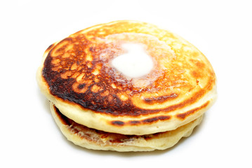 Pancakes with Butter Isolated Over White
