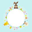 Bunny, Duck & Sheep Round Frame Retro Pastel