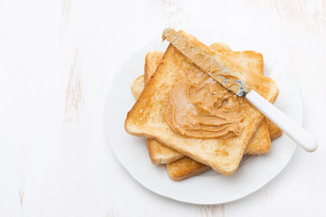 toasts with peanut butter, top view