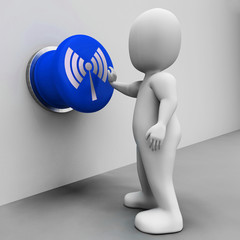 Wi-fi Button Means Internet Connection Or Mobile Data