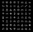 vector black boat and ship icons set