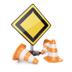 Road sign and traffic cones