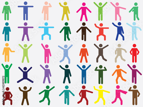 Set of active human pictogram in different colors illustrated