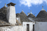 Roofs of trulli in the southern Italian town of Alberobello
