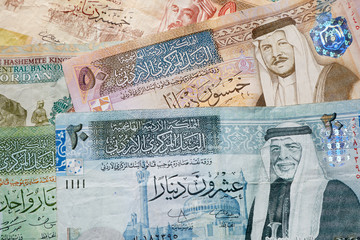 Jordanian dinar banknotes background