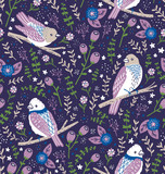 Beautiful birds and flower berries vector seamless pattern