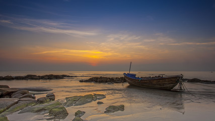 sunset at hin khow, rayong, thailand