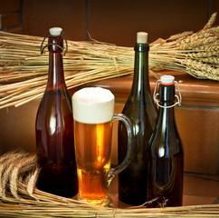 still life with beer bottles