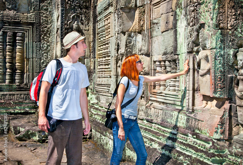 Couple at  Angkor Wat temple complex, Cambodia.