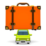 Front View Of Big Travel Luggage On Car