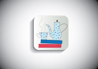 Tea time vector button