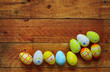 easter eggs on wooden background, free copy space