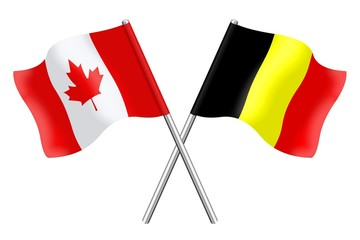 Flags : Canada and Belgium