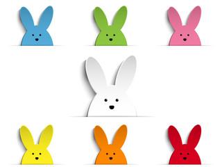 Happy Easter Rabbit Bunny Set Cartoon