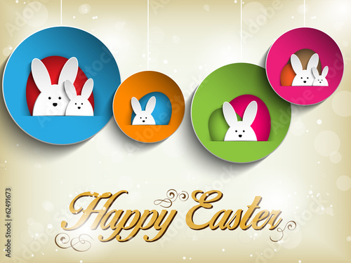 Happy Easter Rabbit Bunny on Retro Background