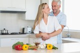 Loving couple preparing a healthy dinner together