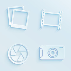 Paper style photography vector icons