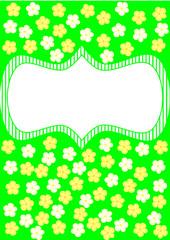 Karte grün mit weißen und gelben Blumen mit Textbanner
