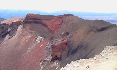 red volcano crater