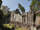 Preah Khan Temple door and stones, Siem Reap, Cambodia