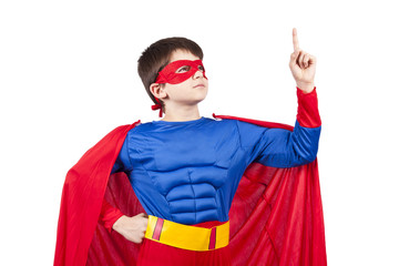 child superman costume isolated on white background