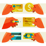 clients purchasing work. Flat design modern vector illustration