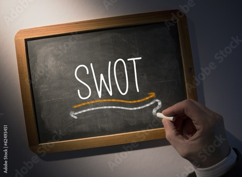 Hand writing Swot on chalkboard