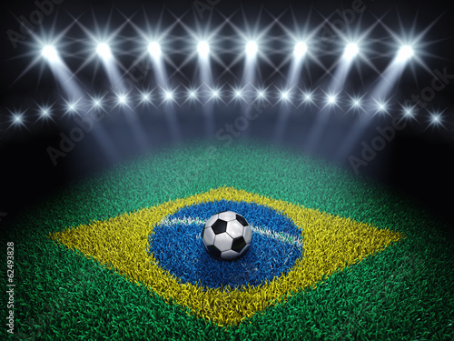 Soccer arena and ball with floodlights , Brazil 2014