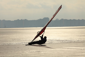 sailing in the winter  windsurfing