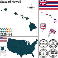 Map of state Hawaii, USA