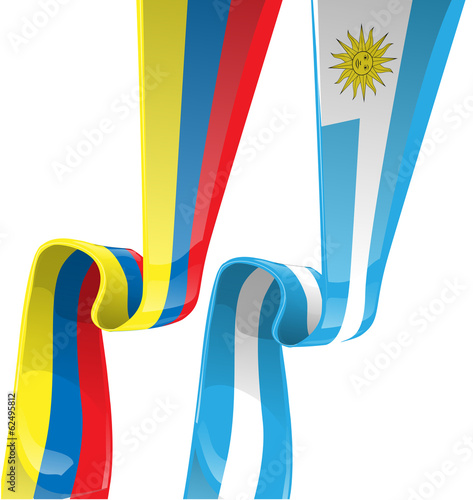 uruguayan & colombian ribbon flag on background