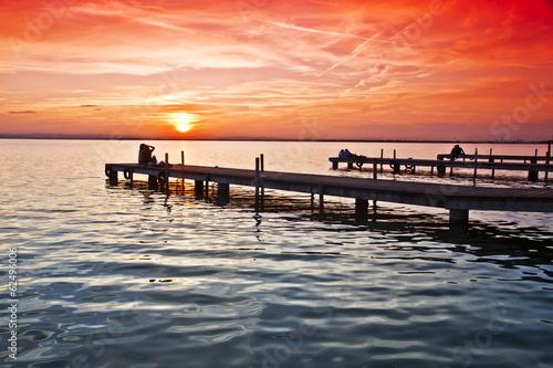 los embarcaderos del lago Billede på lærred