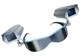 Surveillance glasses, 3D render