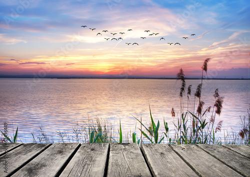 Poster el lago de las nubes de colores