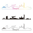 Glasgow skyline linear style with rainbow