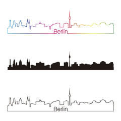 Berlin skyline linear style with rainbow