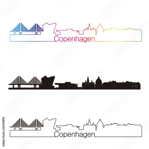 Copenhagen skyline linear style with rainbow