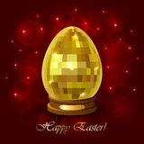 Golden Easter egg on a red blurry background