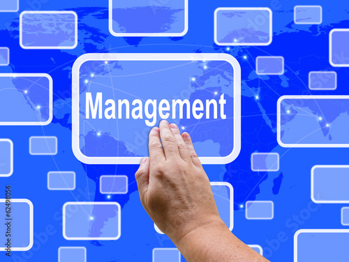 Management Touch Screen Shows Managing  And Leadership