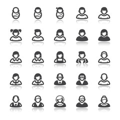 Age. Life stage. People flat icons with reflection