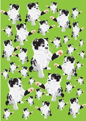 Vector-Set of kittens in color on a green background