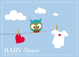 baby shower invitation card with baby bodysuit, owl and heart