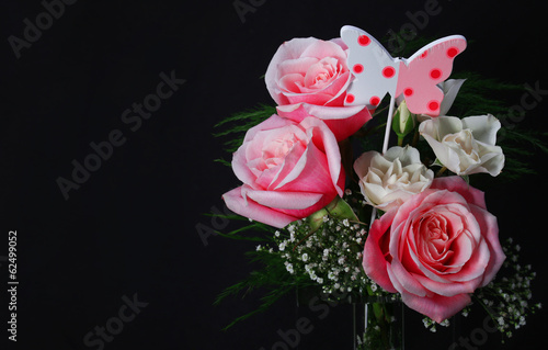 Bouquet of Pink Roses over black background