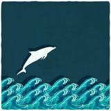 dolphin marine background - vector illustration