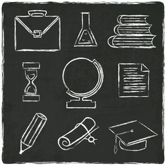 Education icons set on old black board - vector illustration
