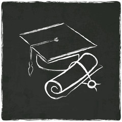 Graduation cap and diploma on old background