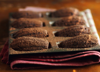 Traditional french dark chocolate madeleines cookies
