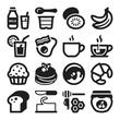 Beakfast flat icons. Black